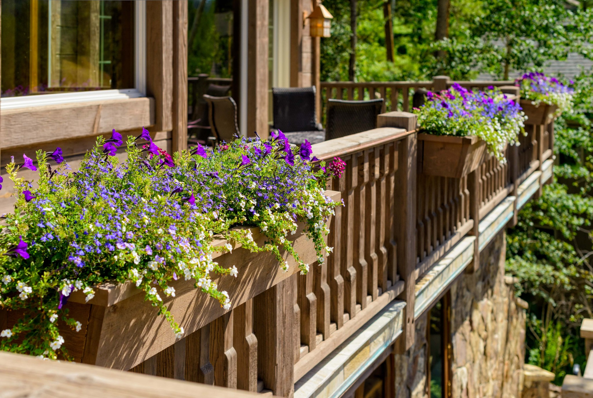 Vail Mountain Elegant Custom Flower Boxes Integrated On Deck Railings Hoeft Builders West