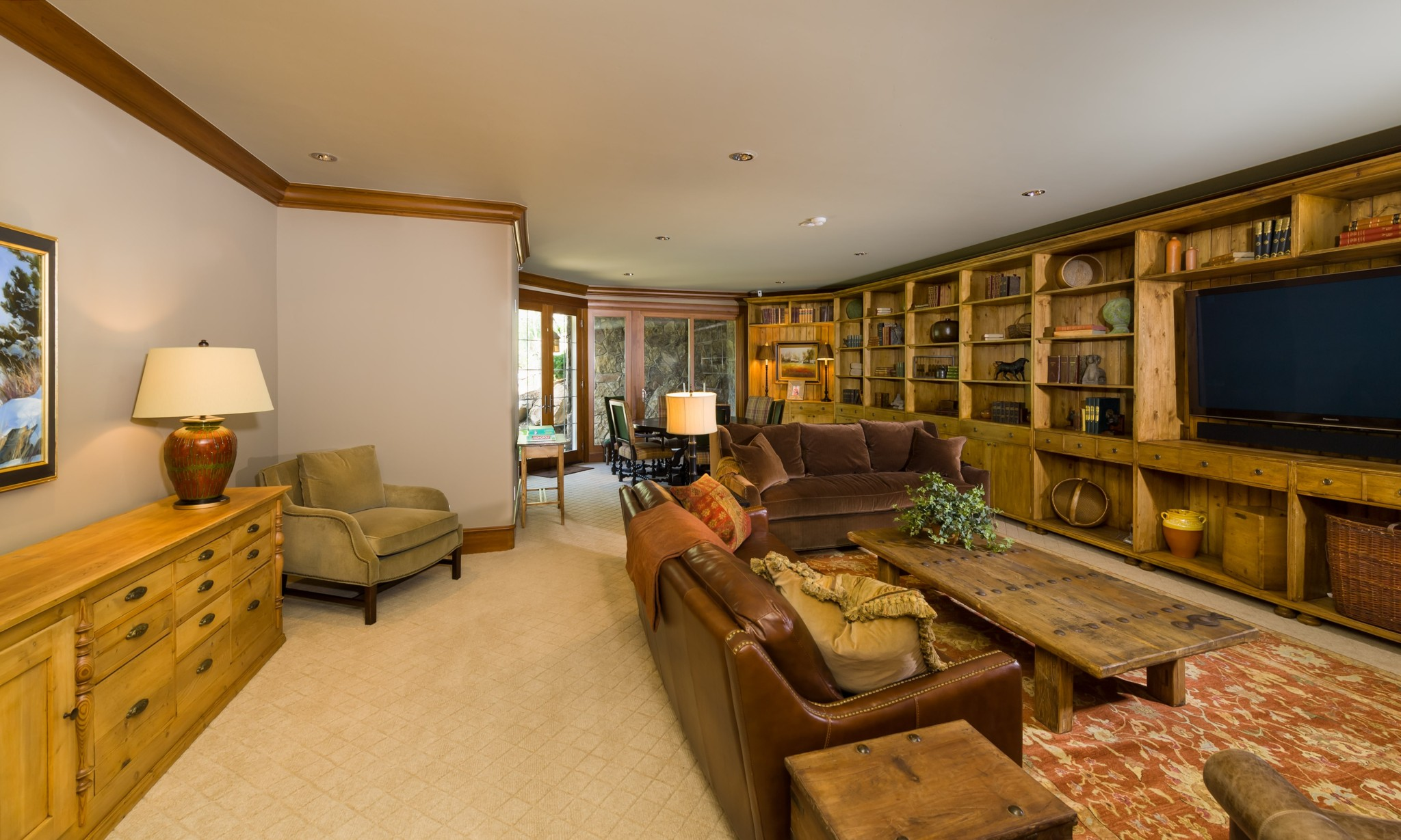 Vail Mountain Elegant Family Room Custom Tv Cabinets