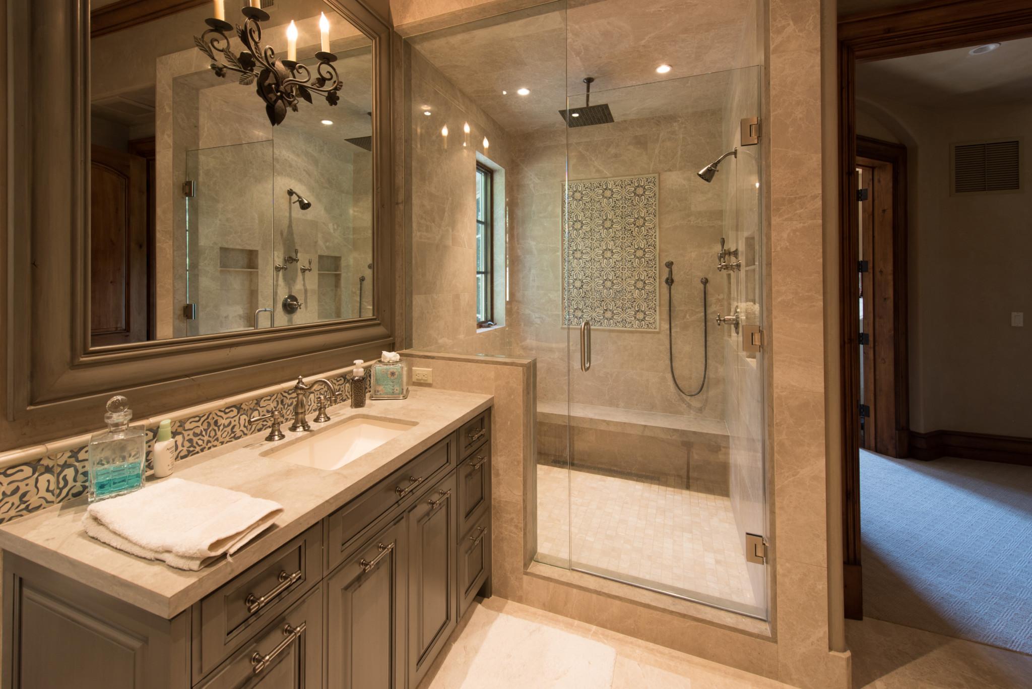 Beaver Creek Chateau Master Bathroom Vanity And Shower Custom Tile Hoeft Builders West